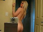 Fit blonde stripper