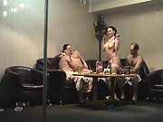 Sharing sexual colleagues at a pole dancing clubs private room