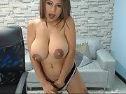 Amateur hottie busty slut web cam with amazing areolas p1
