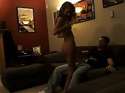 Wifey dances bare for husband and friend and then has sex with both of them