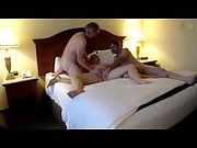 Pulverizing her shaven pussy with a friend